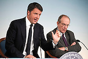 Rome sep 18th 2015, cabinet meeting press conference. In the picture Matteo Renzi, Pier Carlo Padoan