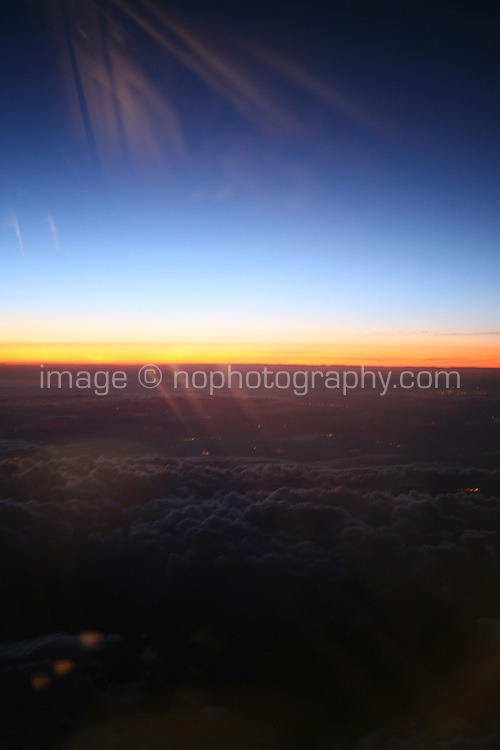 Sunset view out of airplane window