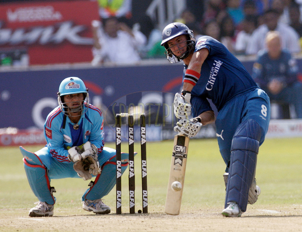 DURBAN, SOUTH AFRICA - 25 April 2009. Herschelle Gibbs plays a shot with keeper Pinal Shahlooking on during the IPL Season 2 match between the Mumbai Indians and the Deccan Chargers held at Sahara Stadium Kingsmead, Durban, South Africa...