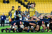 Aaron Smith prepares to feed the ball during the super rugby union  game between Hurricanes  and Highlanders, played at Westpac Stadium, Wellington, New Zealand on 24 March 2018.  Hurricanes won 29-12.