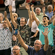 March 7, 2015, Indian Wells, California:<br /> Fans cheer during the McEnroe Challenge for Charity presented by Masimo in Stadium 2 at the Indian Wells Tennis Garden in Indian Wells, California Saturday, March 7, 2015.<br /> (Photo by Billie Weiss/BNP Paribas Open)