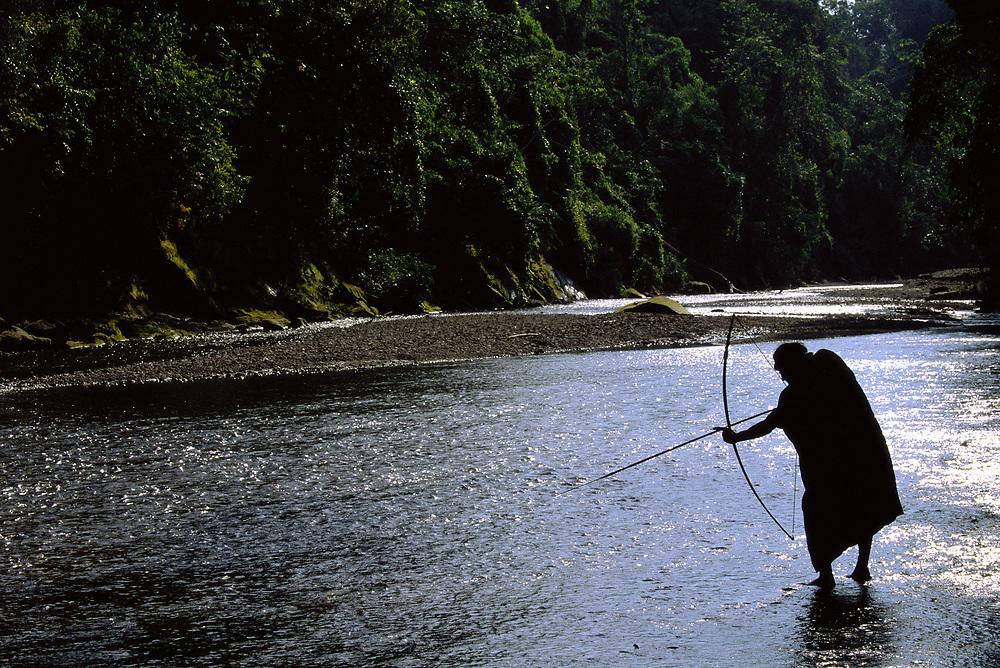 Machiguenga Indian Fishing<br />Timpia Community<br />Lower Urubamba River<br />Amazon Rain Forest, PERU   South America