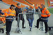 Blackpool fans and stewards chat pre-match during the EFL Sky Bet League 1 match between Blackpool and Rochdale at Bloomfield Road, Blackpool, England on 26 September 2017. Photo by Daniel Youngs.