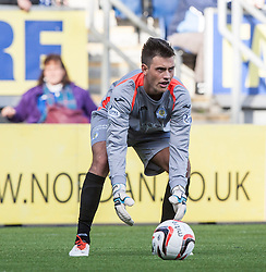 Queen of the South's keeper Calum Antell.<br /> Falkirk 2 v 1 Queen of the South, Scottish Championship 5/10/2013, played at The Falkirk Stadium.<br /> &copy;Michael Schofield.