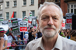 London, July 22nd 2014. Jeremy Corbyn MP addressed many hundreds of Palestinians and their supporters as they demonstrated outside the Israeli embassy in London, against the rising death toll in the ongoing ground offensive by Israel in Gaza.