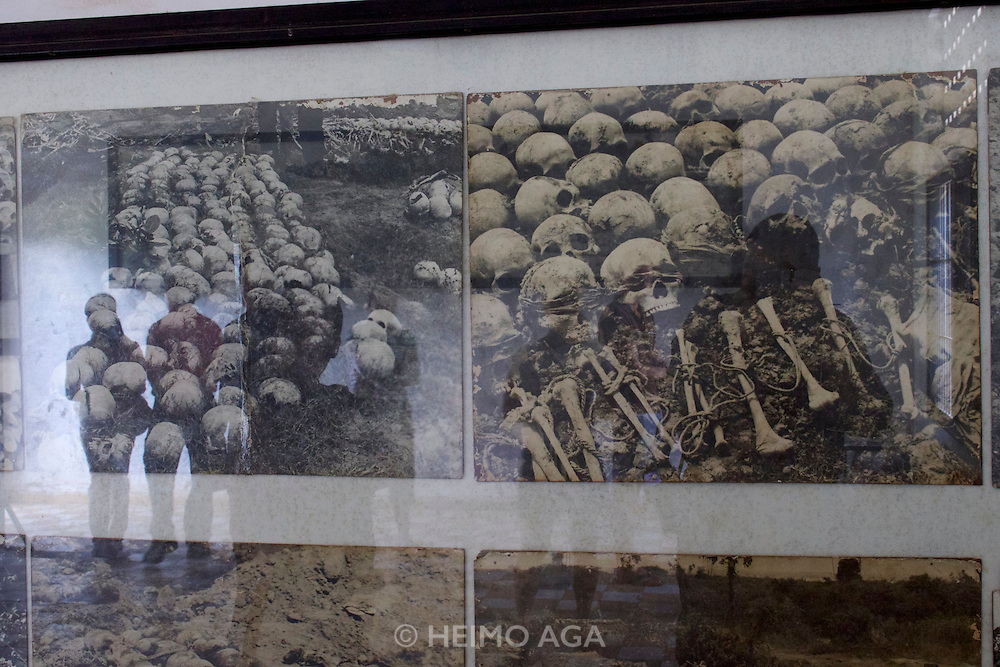 Phnom Penh, Cambodia. Tuol Sleng Genocide Museum at the former Security Prison 21 (S-21) of the Khmer Rouge.<br /> Bones of former inmates killed by the Khmer Rouge.