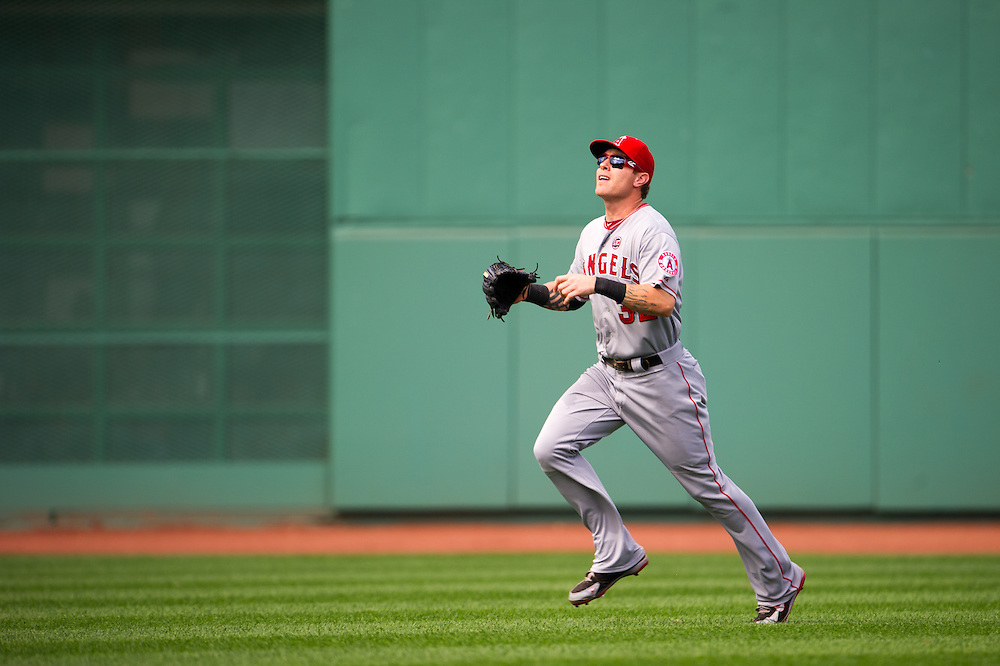BOSTON, MA - JUNE 09: Josh Hamilton #32 of the Los Angeles Angels defends his position during the game against the Boston Red Sox at Fenway Park in Boston, Massachusetts on June 9, 2013. (Photo by Rob Tringali) *** Local Caption *** Josh Hamilton