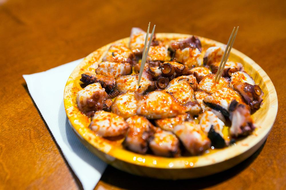 Polbo a feira Galician cuisine, Santiago de Compostela, Galicia, Spain.