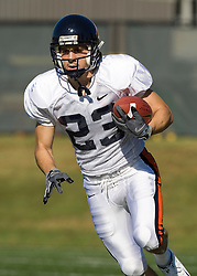 Virginia wide receiver Zach Mendez-Zfass (23).  The Virginia Cavaliers football team during an open practice on August 9, 2008 at the University of Virginia's football turf field in Charlottesville, VA.