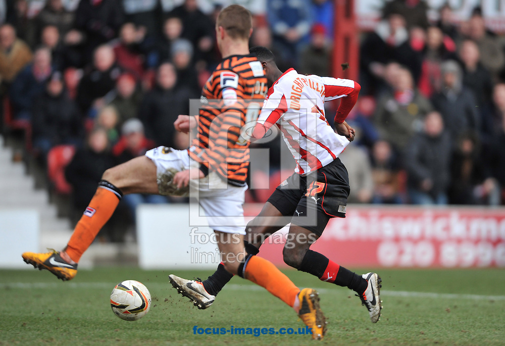 Picture by Daniel Hambury/Focus Images Ltd +44 7813 022858.29/03/2013.Bradley Wright-Phillips of Brentford scoring his side's second goal during the npower League 1 match at Griffin Park, London.