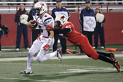 11 December 2015:  James Graham(45) gets his hands on  rushing Kyle Lauletta. NCAA FCS Quarter Final Football Playoff game between Richmond Spiders and Illinois State Redbirds at Hancock Stadium in Normal IL (Photo by Alan Look)