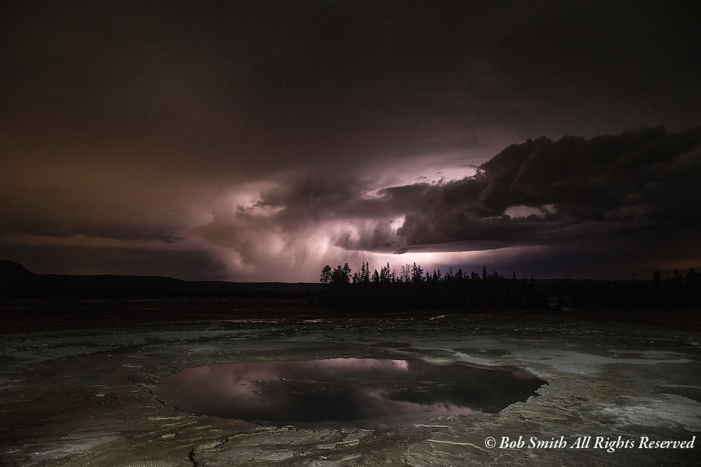 Clouds lit by lightning at Middle Geyser Basin, Yellowstone National Park