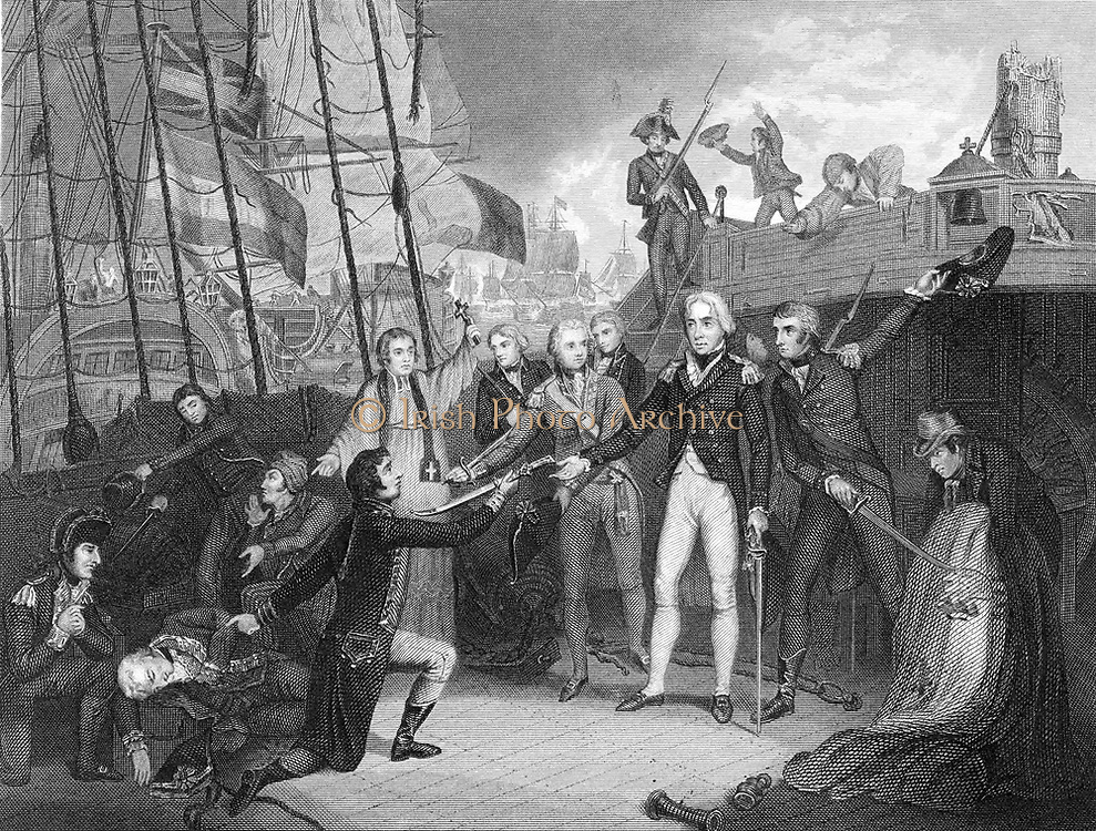 Nelson accepting surrender of Spanish admiral's sword on board the 'San Joseph', Cape St Vincent. Engraving