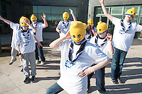16/02/2014 Repro Free    Wicklow Wild scouts from  Wicklow town  had a novel approach and wore lego knitted heads for the Irish Final of the  8th annual SAP FIRST LEGO League challenge in Galway! . The Winners of this years challenge were St Gerard's from Castlebar , Co Mayo. <br /> Of the 27 other teams who competed in this year&rsquo;s final, ten counties were represented with seven teams hailing from Dublin and six teams each coming from counties Galway and Wicklow. Judges on the day were bowled over once again by the incredibly high standard of creativity, professionalism and enthusiasm on display amongst the competitors.Photo:Andrew Downes.