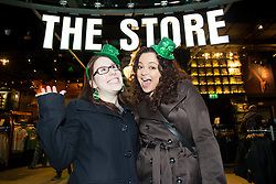 Repro Free: Saturday, 16th March 2013: Neta Tenenhaus and Diana Marmur from New York pictured here enjoying the St. Patrick's Festival at the Guinness.Storehouse. Visitors to the Storehouse enjoyed a host of entertainment over the weekend including a silent disco, gig by Munster band Hermitage Green,.lively set by Electric Ceili, and complimentary Guinness and food tastings. Picture Andres Poveda