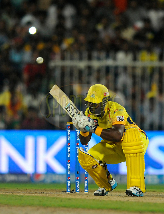 Dwayne Smith of The Chennai Superkings bats during match 16 of the Pepsi Indian Premier League 2014 between the Delhi Daredevils and the Mumbai Indians held at the Sharjah Cricket Stadium, Sharjah, United Arab Emirates on the 27th April 2014<br /> <br /> Photo by Pal Pillai / IPL / SPORTZPICS