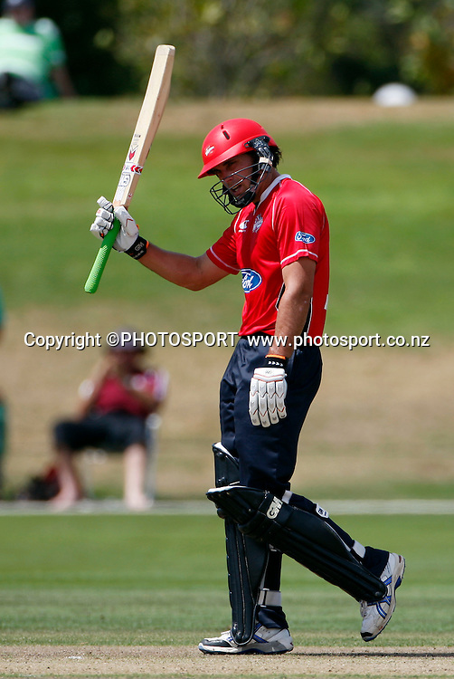 Canterbury batsman Dean Brownlie raises his bat after reaching 50 runs. Canterbury Wizards v Auckland Aces in the One Day Competition, Preliminary Semi Final. QEII Park, Christchurch, New Zealand. Sunday, 06 February 2011. Joseph Johnson / PHOTOSPORT.