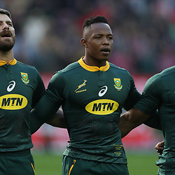 Willie le Roux with Sibusiso Nkosi and Warrick Gelant of South Africa during the 2018 Castle Lager Incoming Series 3rd Test match between South Africa and England at Newlands Rugby Stadium,Cape Town,South Africa. 23,06,2018 Photo by (Steve Haag JMP)