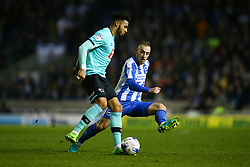 Cyrus Christie of Derby County under pressure from Jiri Skalak of Brighton & Hove Albion - Mandatory by-line: Jason Brown/JMP - 10/03/2017 - FOOTBALL - Amex Stadium - Brighton, England - Brighton and Hove Albion v Derby County - Sky Bet Championship