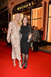 Left to right, AMANDA CRONIN and CAROLE SILLER at the launch of the new Bulgari flagship store at 168 New Bond Street, London on 14th April 2016.