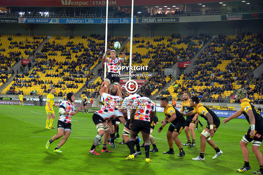 Lineout action during the Super Rugby match between the Hurricanes and Southern Kings at Westpac Stadium, Wellington, New Zealand on Friday, 25 March 2016. Photo: Dave Lintott / lintottphoto.co.nz