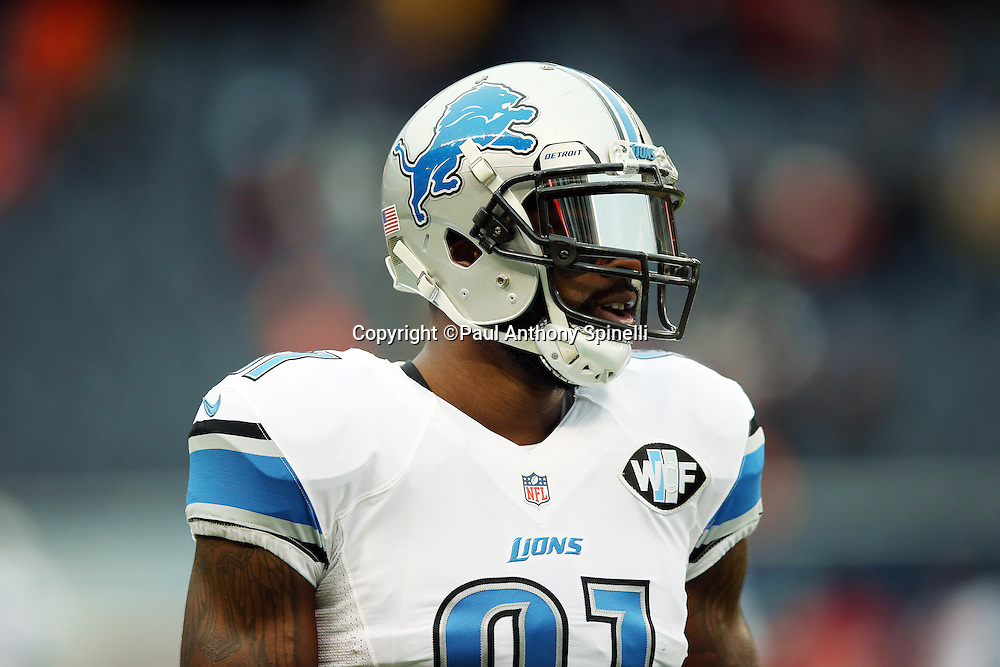 Detroit Lions wide receiver Calvin Johnson (81) looks on from the sideline during the NFL week 17 regular season football game against the Chicago Bears on Sunday, Jan. 3, 2016 in Chicago. The Lions won the game 24-20. (©Paul Anthony Spinelli)