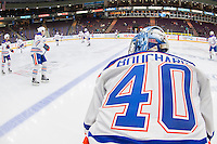 PENTICTON, CANADA - SEPTEMBER 17: Keven Bouchard #40 of Edmonton Oilers stands at the bench against the Calgary Flames on September 17, 2016 at the South Okanagan Event Centre in Penticton, British Columbia, Canada.  (Photo by Marissa Baecker/Shoot the Breeze)  *** Local Caption *** Keven Bouchard;