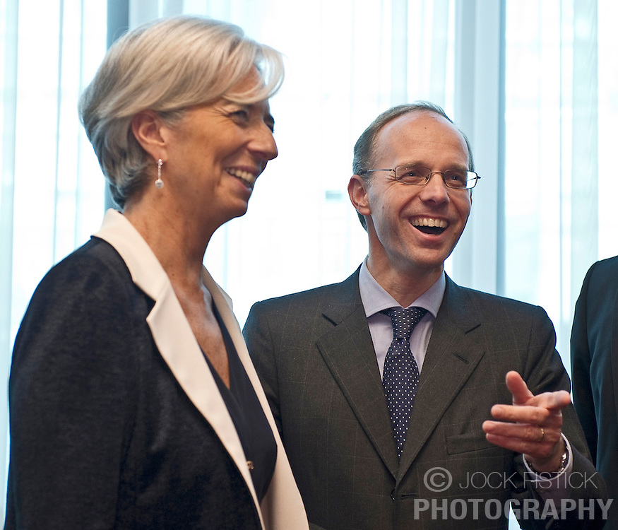 Christine Lagarde, France's finance minister, left, speaks with Luc Frieden, Luxembourg's finance minister, right, during the first meeting of the Van Rompuy task force on economic governance, in Brussels, on Friday, May 21, 2010. (Photo © Jock Fistick)