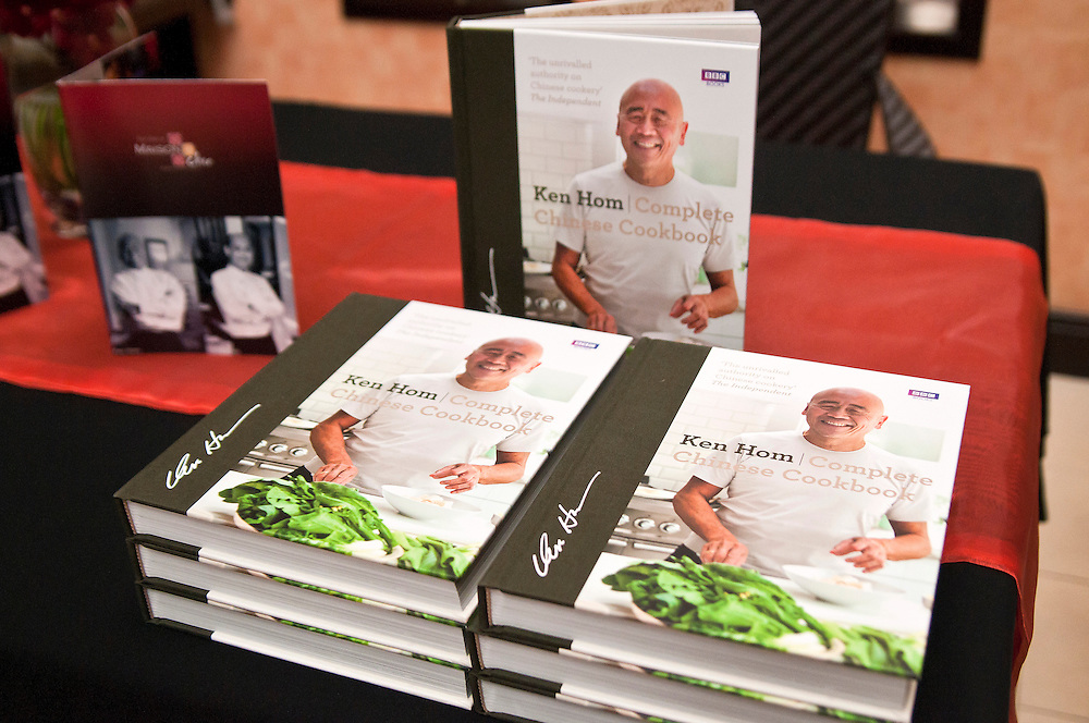 Ken Hom Complete Chinese Cookbook from BBC books on display at Maison Chin restaurant in Bangkok.  The restaurant was founded by Celebrity Chef Ken Hom and Chef Pop, Bangkok, Thailand.