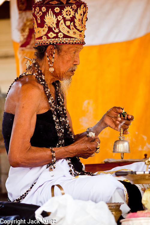 "Apr. 22 - UBUD, BALI, INDONESIA: A Pedanda, a very high cast of Hindu priest in Bali, leads an Odalan ceremony in a family temple in Ubud, Bali, Indonesia. The Odalan ceremony is the ""birthday"" ceremony for Hindu temples in Bali and are held every 210 days. They are common in Bali.   Photo by Jack Kurtz/ZUMA Press."