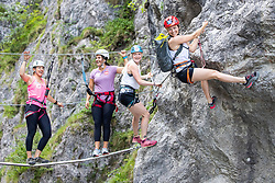 26.06.2019, Galitzenklamm, Lienz, AUT, OeSV, Pressetermin Damen Technikgruppe, Trainingskurs im Klettersteig, im Bild v.l. Katharina Huber, Franziska Gritsch, Katharina Truppe, Bernadette Schild // f.l.v.l. Katharina Huber, Franziska Gritsch, Katharina Truppe, Bernadette Schild during a press conference of the Austrian Ski Association (ÖSV), Ladies engineering group at the Galitzenklamm in Lienz, Austria on 2019/06/26. EXPA Pictures © 2019, PhotoCredit: EXPA/ Johann Groder