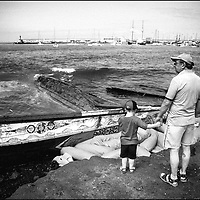 Tenerife / Los Cristianos June 7, 2006 - A fishing boat called &quot;Cayucos&quot; by the inhabitants of the island of Tenerife, is found on the beach after one night of storm. Spanish authorities say the Canary Islands has intercepted more than 7,000 imigrants since January  <br /> &copy;Jean-Michel Clajot