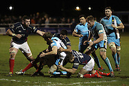 Chris Walker and Harry Sloan make a tackle during the Green King IPA Championship match between London Scottish &amp; Worcester at Richmond, Greater London on 20th December 2014<br /> <br /> Photo: Ken Sparks | UK Sports Pics Ltd<br /> London Scottish v Worcester, Green King IPA Championship, 20th December 2014<br /> <br /> &copy; UK Sports Pics Ltd. FA Accredited. Football League Licence No:  FL14/15/P5700.Football Conference Licence No: PCONF 051/14 Tel +44(0)7968 045353. email ken@uksportspics.co.uk, 7 Leslie Park Road, East Croydon, Surrey CR0 6TN. Credit UK Sports Pics Ltd