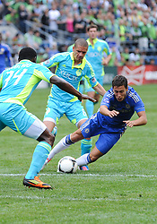 July 18, 2012: CenturyLink Field, Seattle, WA: Chelsea FC Yossi Benayoun dives for the ball during the World Football Challenge. Chelsea FC led the Seattle Sounders 4-2 at the half.
