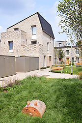 New social housing development off Goldsmith Street, Norwich, UK. Some of the most energy-efficient housing ever built in the UK, meeting the German Passivhaus standards – ie 70% reduction in fuel bills for tenants. July 2019