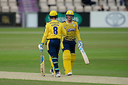 Liam Dawson and Tom Alsop of Hampshire during the NatWest T20 Blast South Group match between Hampshire County Cricket Club and Somerset County Cricket Club at the Ageas Bowl, Southampton, United Kingdom on 29 July 2016. Photo by David Vokes.