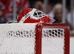 Mar 17, 2010; Newark, NJ, USA; New Jersey Devils goalie Martin Brodeur's (30) mask sits on his net during the first period at the Prudential Center.
