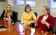 (from left) Shannon Hartemeyer of Fairfield Township, Dr. Ann Moell of Centerville and Nancy Blackburn of Springfield during an Ideas & Voices roundtable in the editorial boardroom at the Cox Media Group - Ohio in Dayton, Wednesday, April 25, 2012.