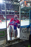 KELOWNA, CANADA - MARCH 7: Tyson Verhelst #31 of Spokane Chiefs exits the ice against the Kelowna Rockets on March 7, 2015 at Prospera Place in Kelowna, British Columbia, Canada.  (Photo by Marissa Baecker/Shoot the Breeze)  *** Local Caption *** Tyson Verhelst;
