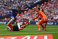 Football - 2017 / 2018 FA Cup - Semi Final: Chelsea vs. Southampton<br /> <br /> Southampton's Maya Yoshida gets a last ditch block on Eden Hazard of Chelsea at Wembley Stadium <br /> <br /> COLORSPORT/SHAUN BOGGUST