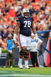 Auburn Tigers offensive lineman Darius James (78) looks on during an NCAA football game against the Mississippi Rebels, Saturday, October 7, 2017, in Auburn, AL. Auburn won 44-23. (Paul Abell via Abell Images for Chick-fil-A Peach Bowl)