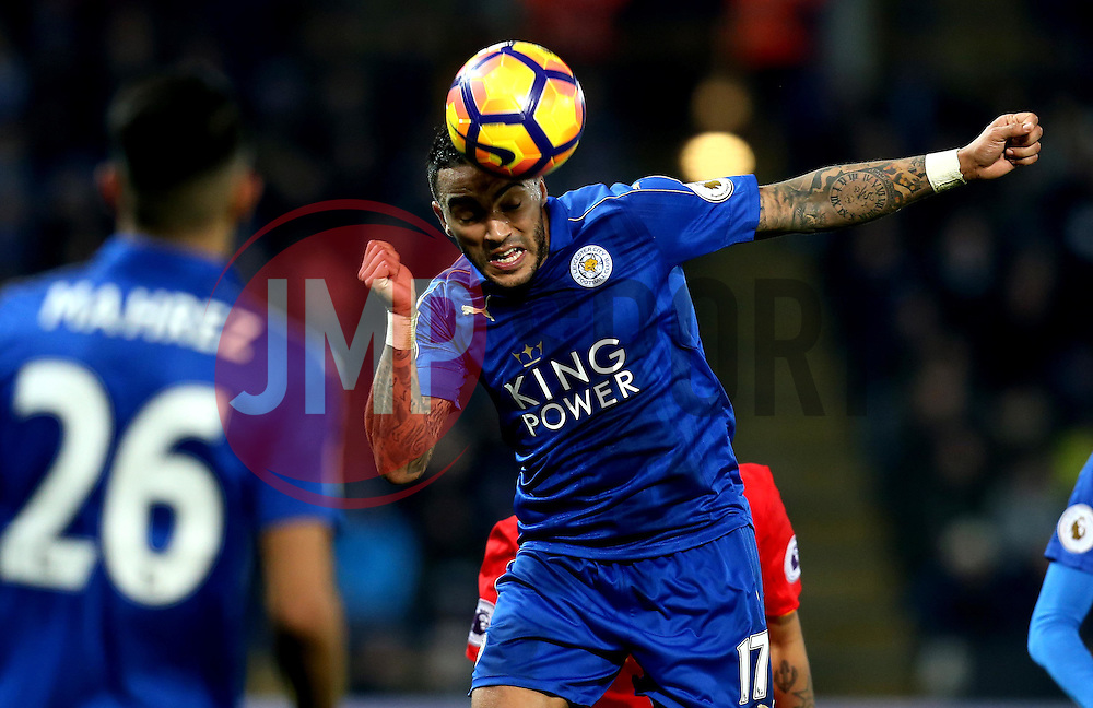 Danny Simpson of Leicester City heads the ball - Mandatory by-line: Robbie Stephenson/JMP - 27/02/2017 - FOOTBALL - King Power Stadium - Leicester, England - Leicester City v Liverpool - Premier League