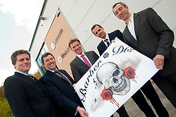 Managing Director of Barber (DTS) Of Sheffield Ltd Tony Crane (far Right)gains investment from (left to right) Wayne Thomas and Paul Betts of EV Group and James Dow and Andy Dodd of PHD..16  May 2012.Image © Paul David Drabble