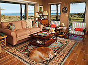 The Hopkins' Golden Retriever, Peaches, relaxes in the living room with an ocean view at the Gracewood home.