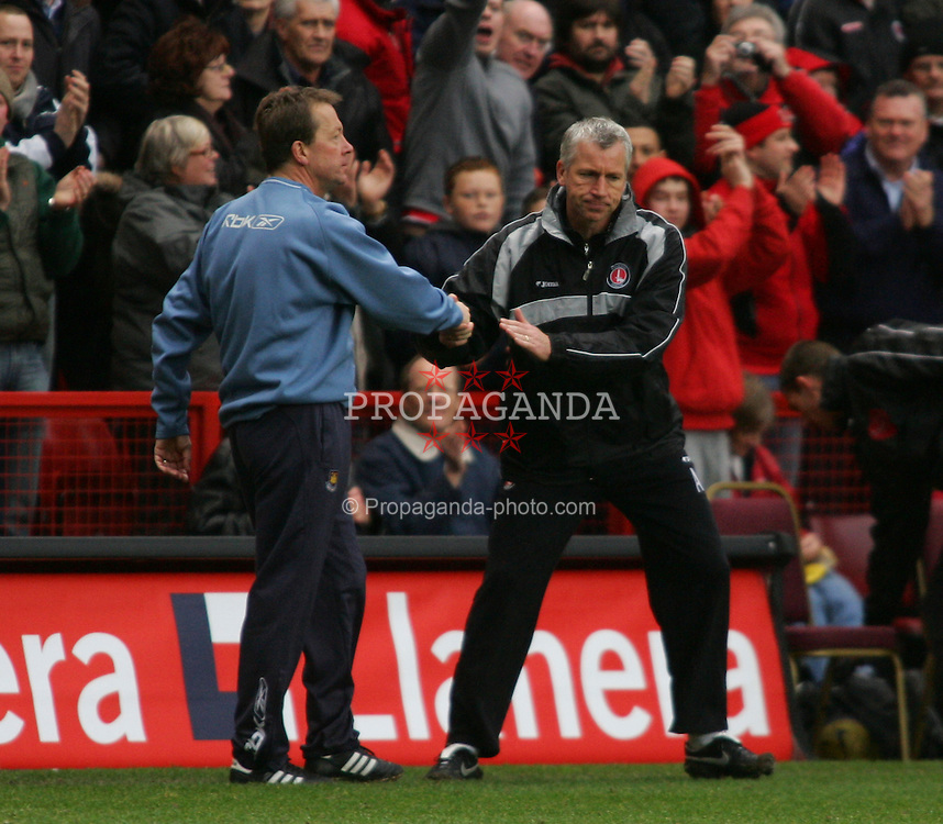 London, England - Saturday, February 24, 2007: West Ham United's Alan Curbishley shakes hands with Charlton Athletic's Alan Pardew at the end of the game during the Premiership match at the Valley. (Pic by Chris Ratcliffe/Propaganda)