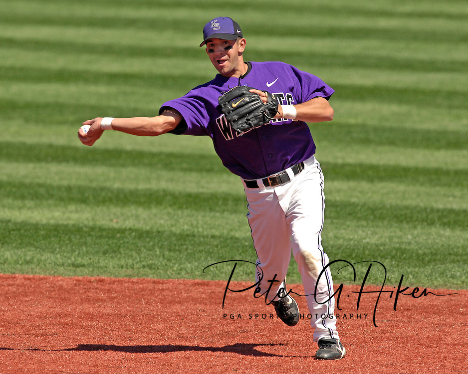Kansas State second basemen Edie Vasquez throws to first for the out in the top of the fourth inning against Texas Tech at Tointon Stadium in  Manhattan, Kansas, April 1, 2007.  Kansas State defeated Texas Tech 7-3.