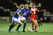 Millie Turner and Lindsay Johnson compete with Bristol Academy's Nikki Watts during the Women's FA Cup fourth round match between Everton Ladies and Bristol Academy ladies at the Select Securities Stadium, Widnes, United Kingdom on 24 March 2015. Photo by Andrew Morfett.