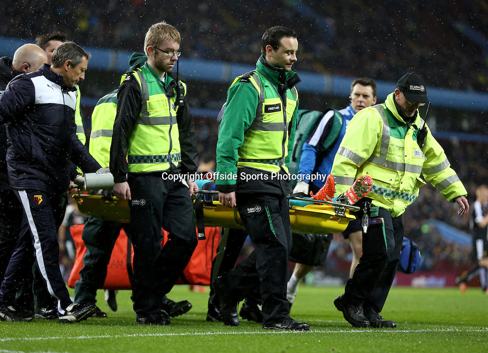 28th November 2015 - Barclays Premier League - Aston Villa v Watford -   Heurelho Gomes of Watford is stretchered off the field - Photo: Paul Roberts / Offside.