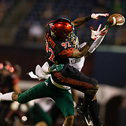 22 September 2018: San Diego State Aztecs wide receiver Kobe Smith (92) has a catch over the middle broken up by a Eastern Michigan defender with 2:25 left in the game trailing 20-17. The San Diego State Aztecs beat the Eastern Michigan Eagles 23-20 in over time at SDCCU Stadium in San Diego, California.