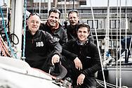 20-05-2018: Zeilen: The North Sea Regatta: Scheveningen<br /> <br /> (L-R) Zeiler Bram Adema (2e van links) met zijn bemanningsleden na afloop van de North Sea Regatta in de haven van Scheveningen<br /> <br /> Foto: Gertjan Kooij